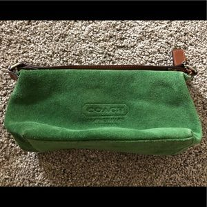 Small Green Suede Coach Purse W/ Silver Hardware
